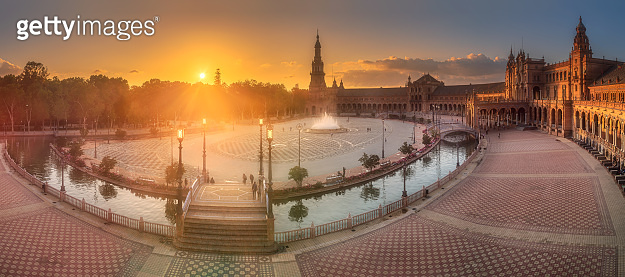 Spain Square in Maria Luisa Park of Seville, Spain