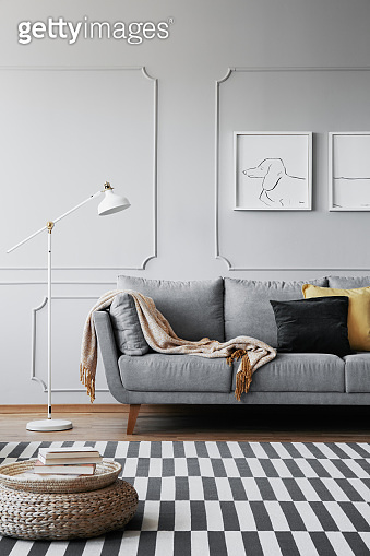 Real photo of a grey sofa, striped rug and pouf in a living room interior