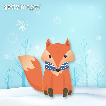 Paper art of Fox with snowflake and sky background winter holiday paper craft illustration.