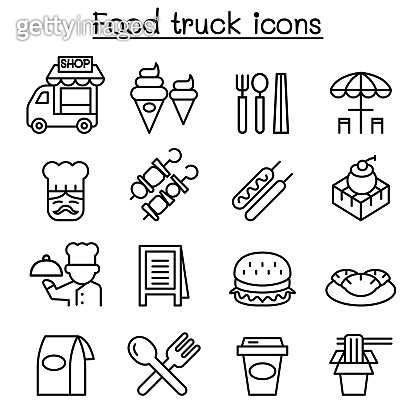 Food truck icon set in thin line style