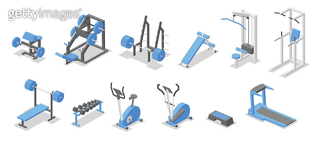 Training apparatus for the gym. Isometric set of fitness equipment symbols. Flat vector illustration. Isolated on white background