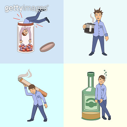 Addictions and bad habbits. Set of example characters. Vector illustration. Isolated.