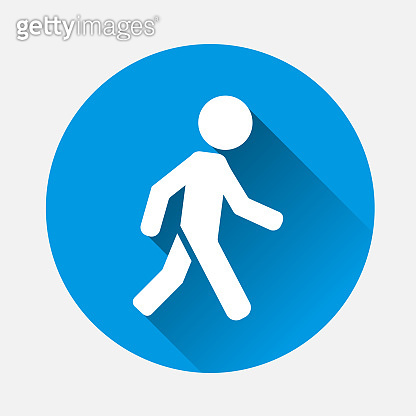 Vector icon of a walking pedestrian on blue background. Flat image walking man with long shadow. Layers grouped for easy editing illustration. For your design.