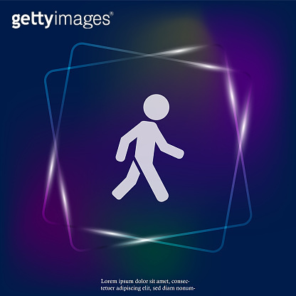 Vector  neon light icon of a walking pedestrian. Illustration of a walking man. Layers grouped for easy editing illustration. For your design.