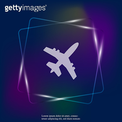 Aircraft or airplane neon light icon. Flat vector illustration. Layers grouped for easy editing illustration. For your design