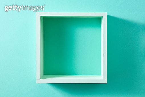 Wall green shelf view isolated on mint background