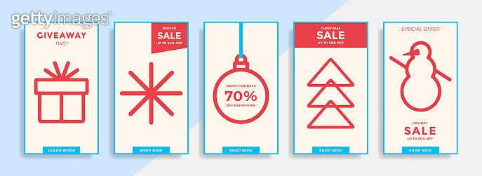 Winter holidays stories template with line icons