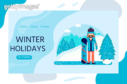 Horizontal web banner in flat design with man, snowboard.