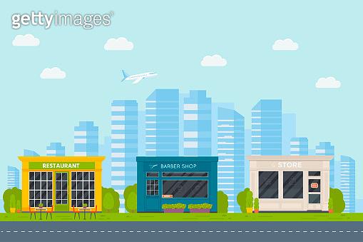 Set of vector flat design restaurants exterior and shops facade: barber shop, supermarket.