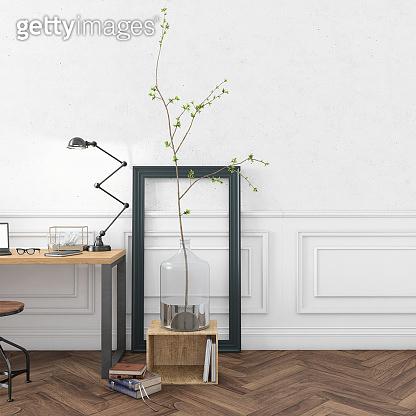 Contemporary home office interior background template