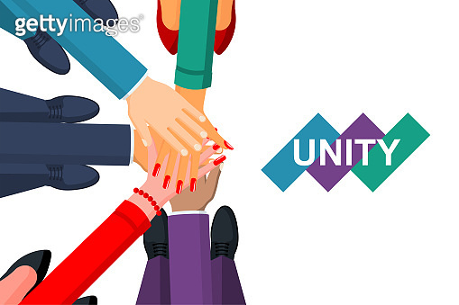 Unity concept. Top view of a group of young business people