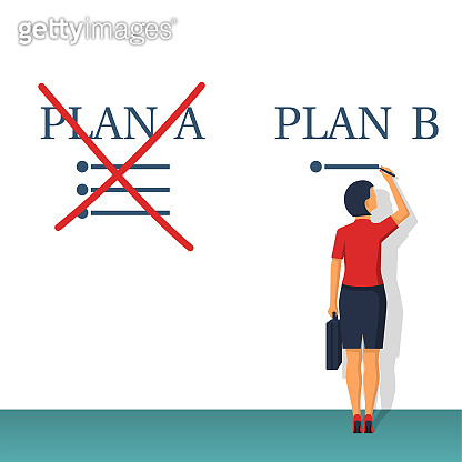 Plan B. Businesswoman passes to the second plan.