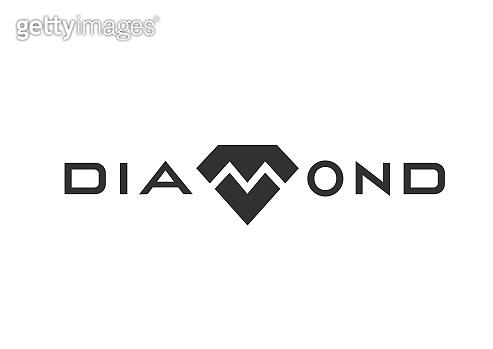 Diamond logo design monochrome black