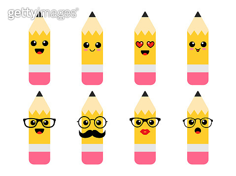 Funny pencils with emotions - pupils and teachers. Back to school. First day of school. Vector illustration.