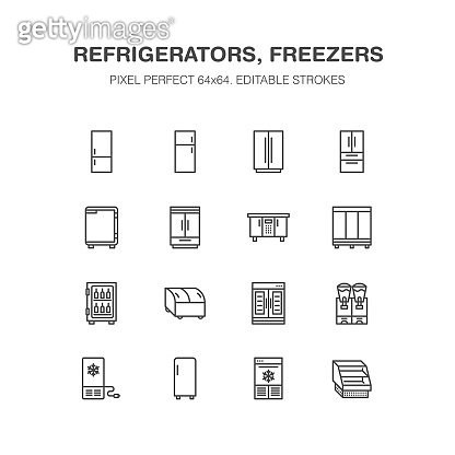 Refrigerators flat line icons. Fridge types, freezer, wine cooler, commercial major appliance, refrigerated display case. Thin linear signs for household equipment shop. Pixel perfect 64x64