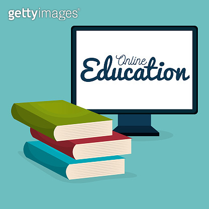 on line education with desktop computer