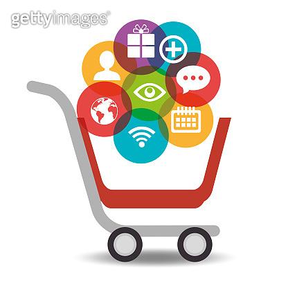 media social cart shop icons