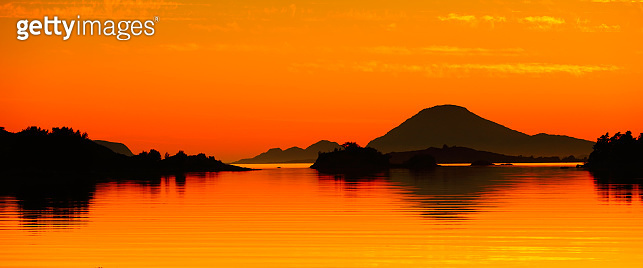 Beautiful orange seascape at sunset