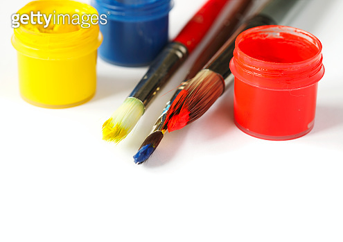 Paints and brushes. Art and craft background