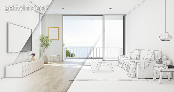 Sea view living room of luxury beach house with glass door and wooden terrace. TV on white marble wall against sofa near indoor plant in vacation home or holiday villa.
