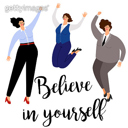 Believe in yourself woman positive concept icon