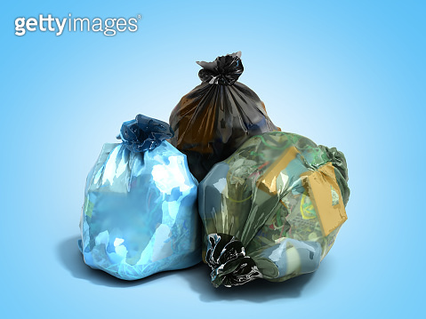 close up of blue garbage bags 3d render on blue background