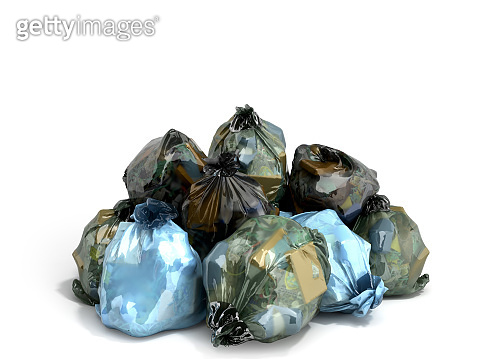 close up of a garbage bags stack 3d render on white background