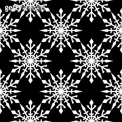 Snowflakes. Seamless pattern. Black and white winter ornament