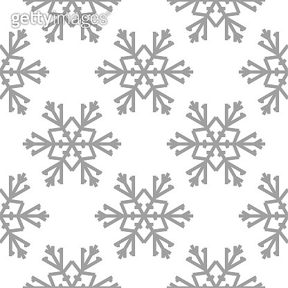 Snowflakes. Seamless pattern. White and gray winter ornament