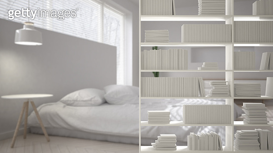 Bookshelf close-up, shelving foreground, interior design concept, modern white bright bedroom in the background