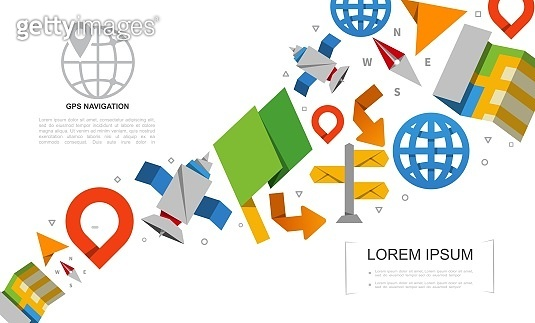 Flat Global Positioning System Elements Set