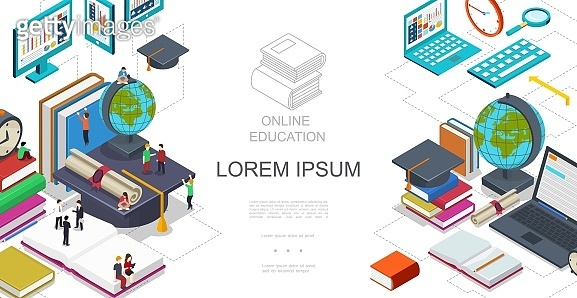 Isometric Online Education Template