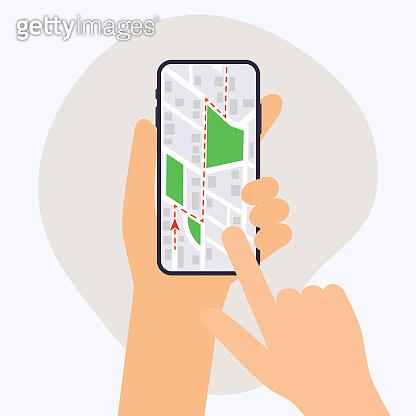 Hand holding mobile smart phone with gps app. Map on smart phone. Navigation concept. Flat design modern vector illustration concept.