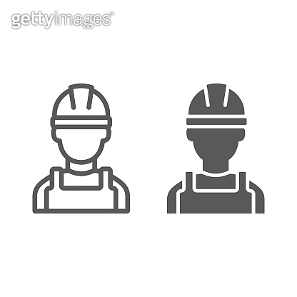 Builder line and glyph icon, engineer and man, construction worker sign, vector graphics, a linear pattern on a white background.
