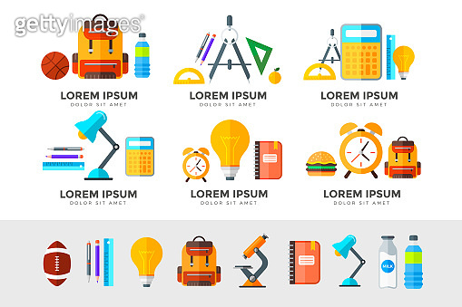 Vector education icons set. High school object in flat style on white