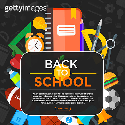 Vector Back To School background with education icons. Education object in flat style.