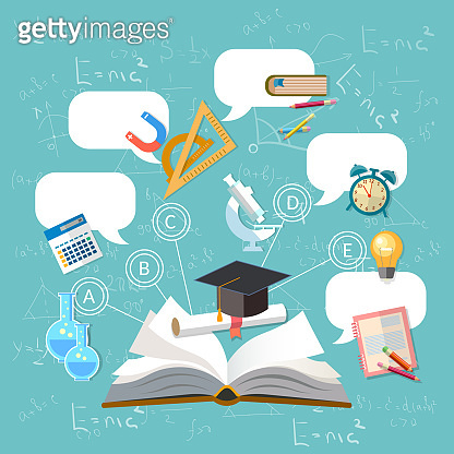 Education, open book, effective modern education template design. Back to school concept