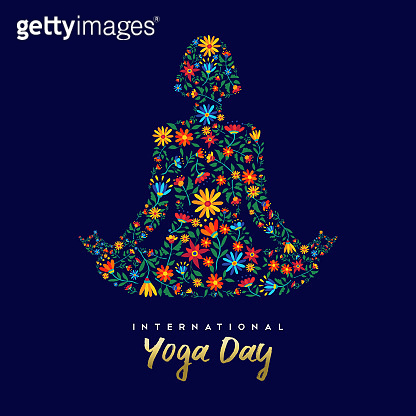 Yoga day card of woman in relaxation lotus pose