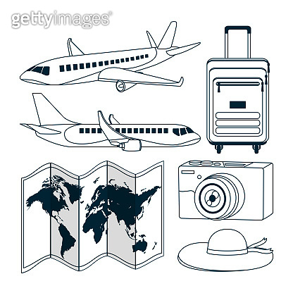 Set of travel and world