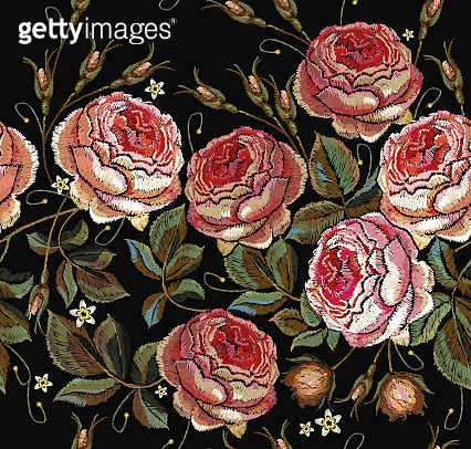 Roses embroidery seamless pattern. Classical embroidery vintage buds of roses seamless pattern. Fashionable template for design of clothes, t-shirt design, tapestry flowers renaissance style