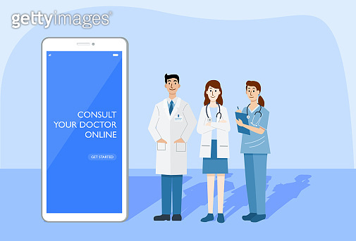 Digital health concept, Illustration of doctors and nurse using a smart phone for consulting patient online, Vector