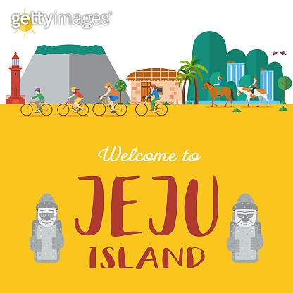 Flat design, Illustration of landmarks and icons in Jeju Island, South Korea, Vector