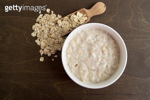 Healthy Breakfast. Oatmeal in a white bowl