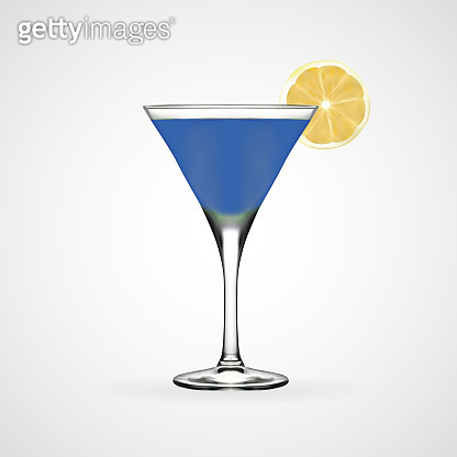 Blue cocktail glass, vector