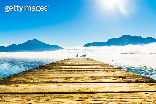Foggy mountain landscape with seagulls on Pier of lake Mondsee in Austria
