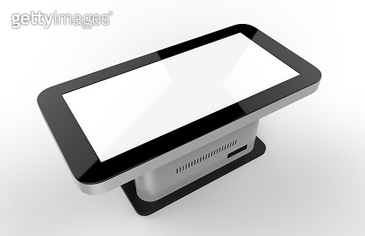 LCD Touch Screen Display Interactive Kiosk Digital Signage Hd Screen,Touch Display Kiosk Product. 3d render illustration.