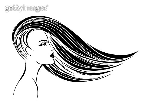 Hair salon vector icon.Beautiful woman with long, straight hair flowing in the wind.