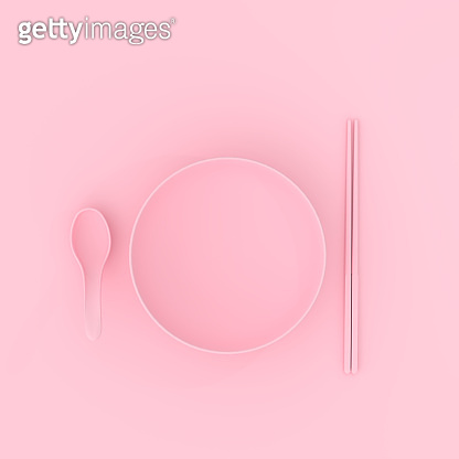 bowl with spoon and chopsticks pink color. minimal concept