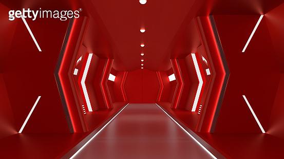realistic red spaceship sci-fi corridor