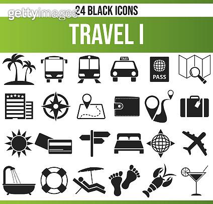 Black Icon Set Travel I